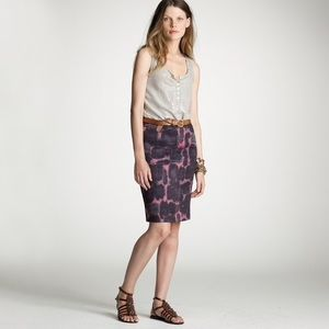 J. Crew Ink Blossom Linen Pencil Skirt
